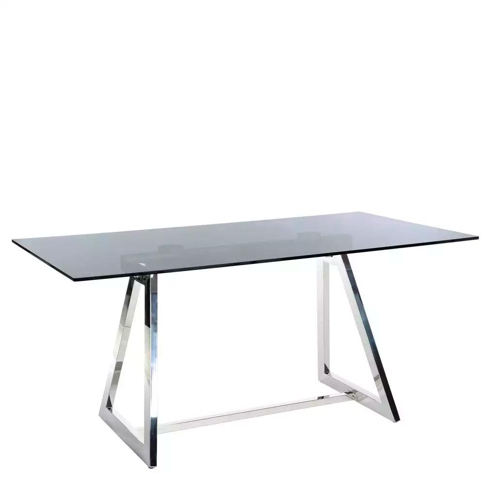 Mesas: Mesa para comedor plata, gris, acero y cristal. Medida 160 x ...