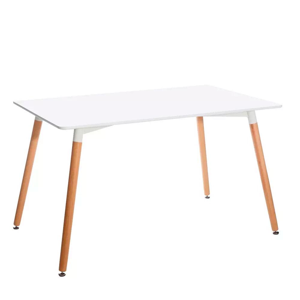 Mesa comedor en color blanco y madera natural. Medida 130 x 80 x 76 cm